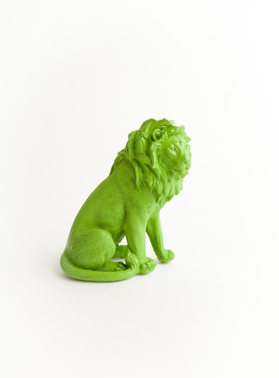 The Rupert  Apple Green Table Top Lion by WhiteFauxTaxidermy