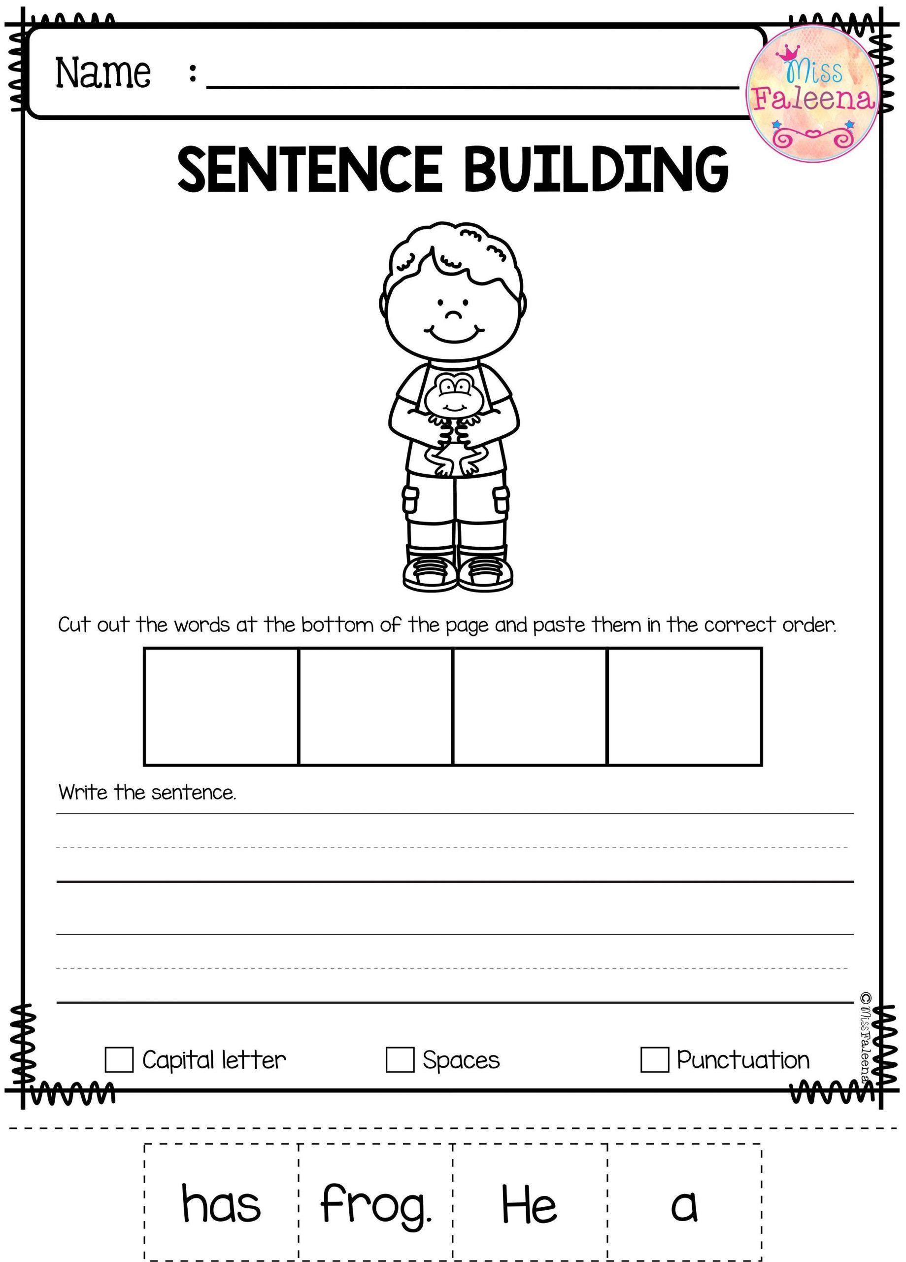 Kindergarten Writing Sentences Worksheets Pinterest
