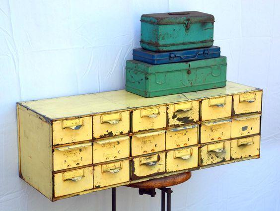 Vintage Yellow Equipto Parts Bin Organizer Cabinet by MerlesVintage on Etsy