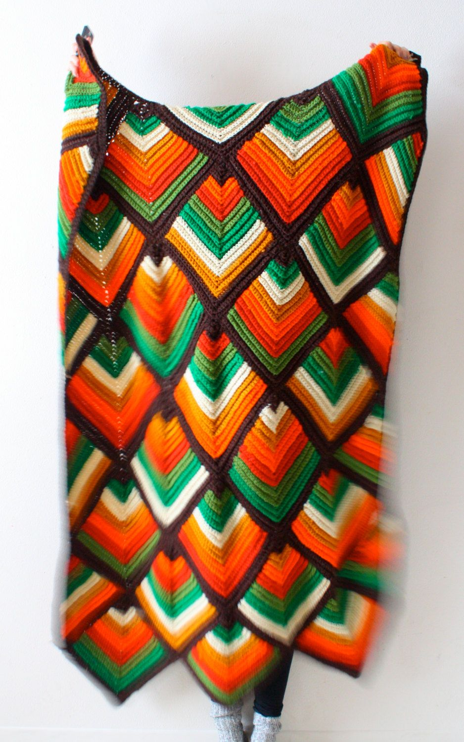 Vintage/retro navajo bohemian aztec blanket orange brown green ...