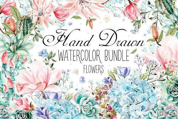 HandDrawn Watercolor Bundle FLOWERS3  @creativework247