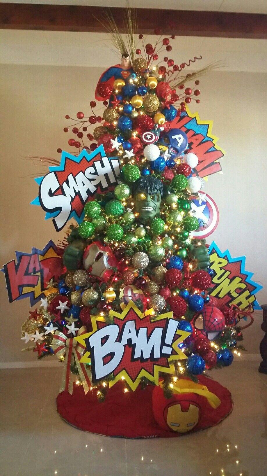 Superhero xmas tree themed christmas trees pinterest - Decoracion de arboles navidenos para ninos ...