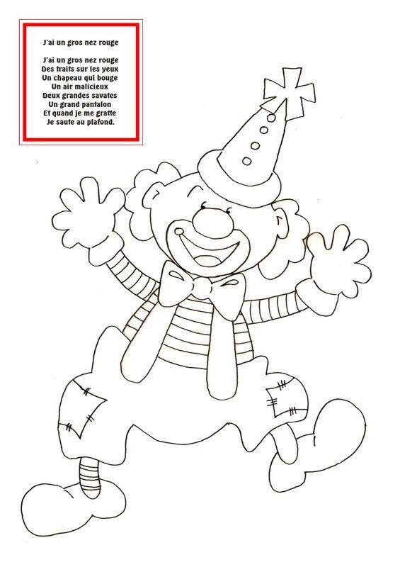 Jai Un Gros Nez Rouge Clowns Dessin Carnaval Coloriage