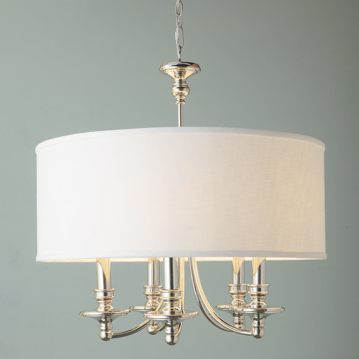 Springfield Linen Shade Chandelier 5 Light White And Polished Nickel Drum Shade Chandelier Chandelier Shades Dining Light Fixtures Drum shade light fixture