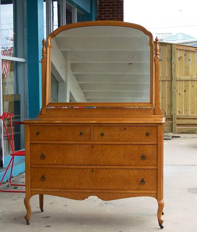 Vintage Birdseye Maple Dresser W Mirror