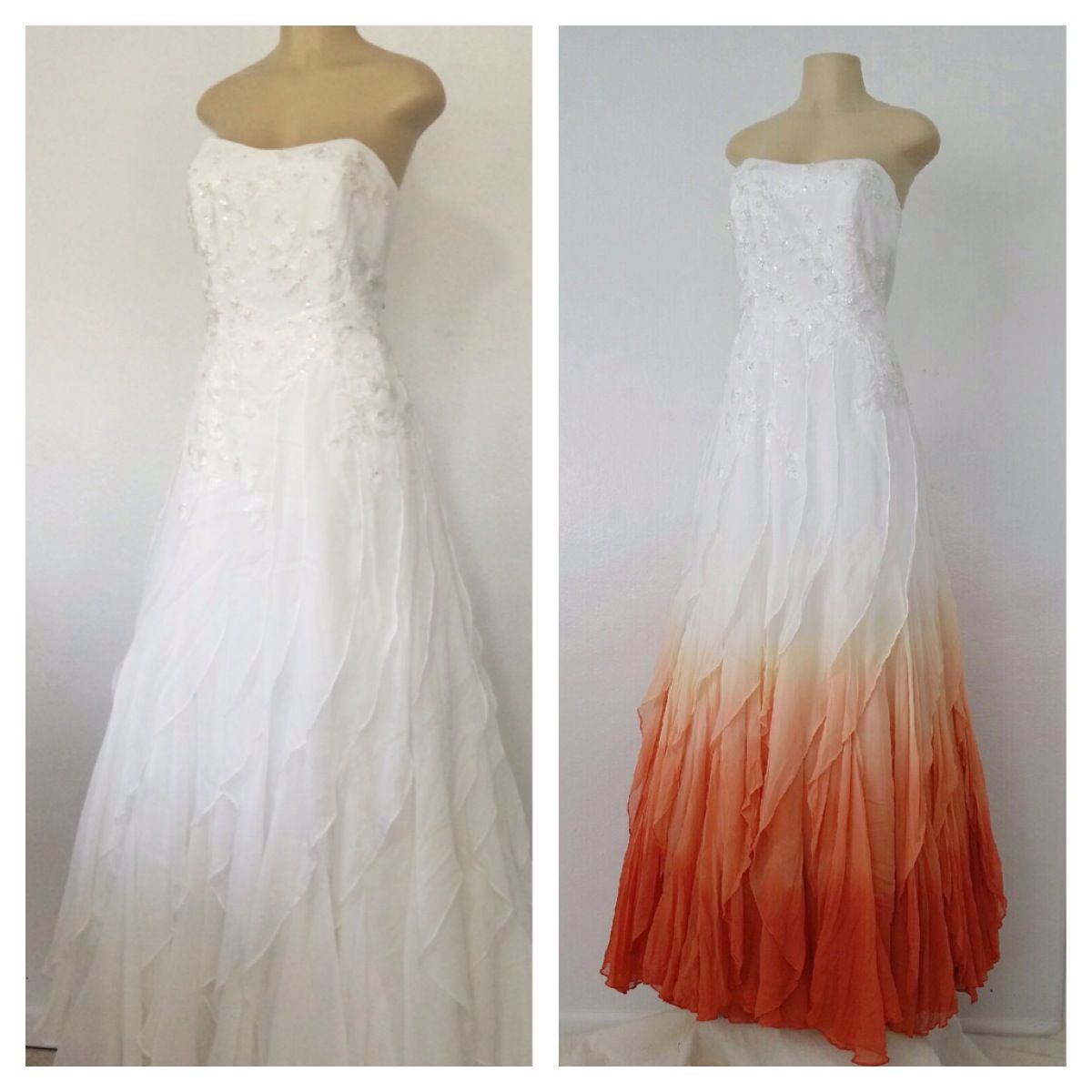 87db9584d82 We just love this orange ombre dyed effect on this wedding gown! Alteria s  Dye Services are spectacular! Visit www.AlteriaOnline.com for more info