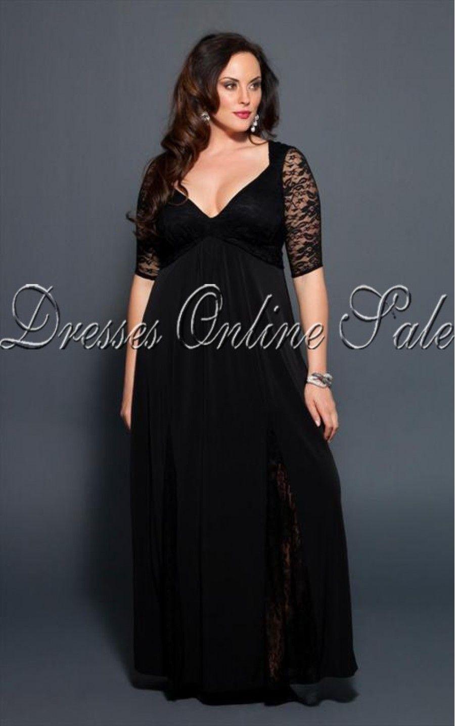 long black lace dress plus size image collections - dresses design