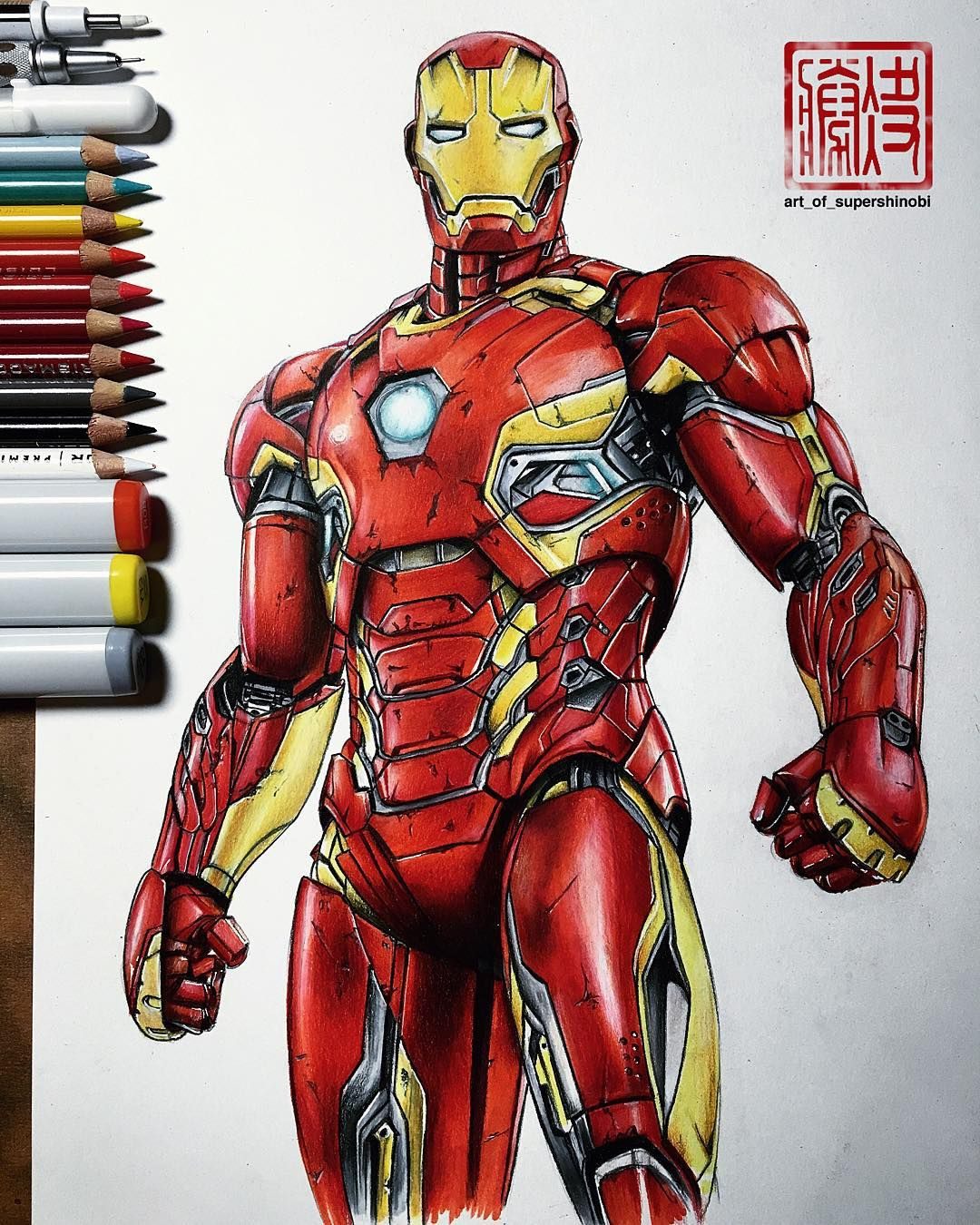 Art Of Supershinobi On Instagram Iron Man Mark Xlv Complete Copic Markers With Prismacolor Pencils On Top Of St Iron Man Drawing Iron Man Marvel Coloring
