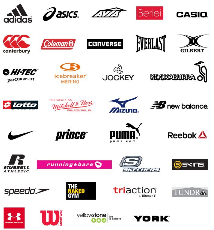 Sports brand logos and names