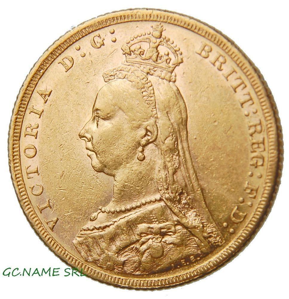 Australia Melbourne 1890 Sovereign Victoria Jubilee head Gold Oro Or #404