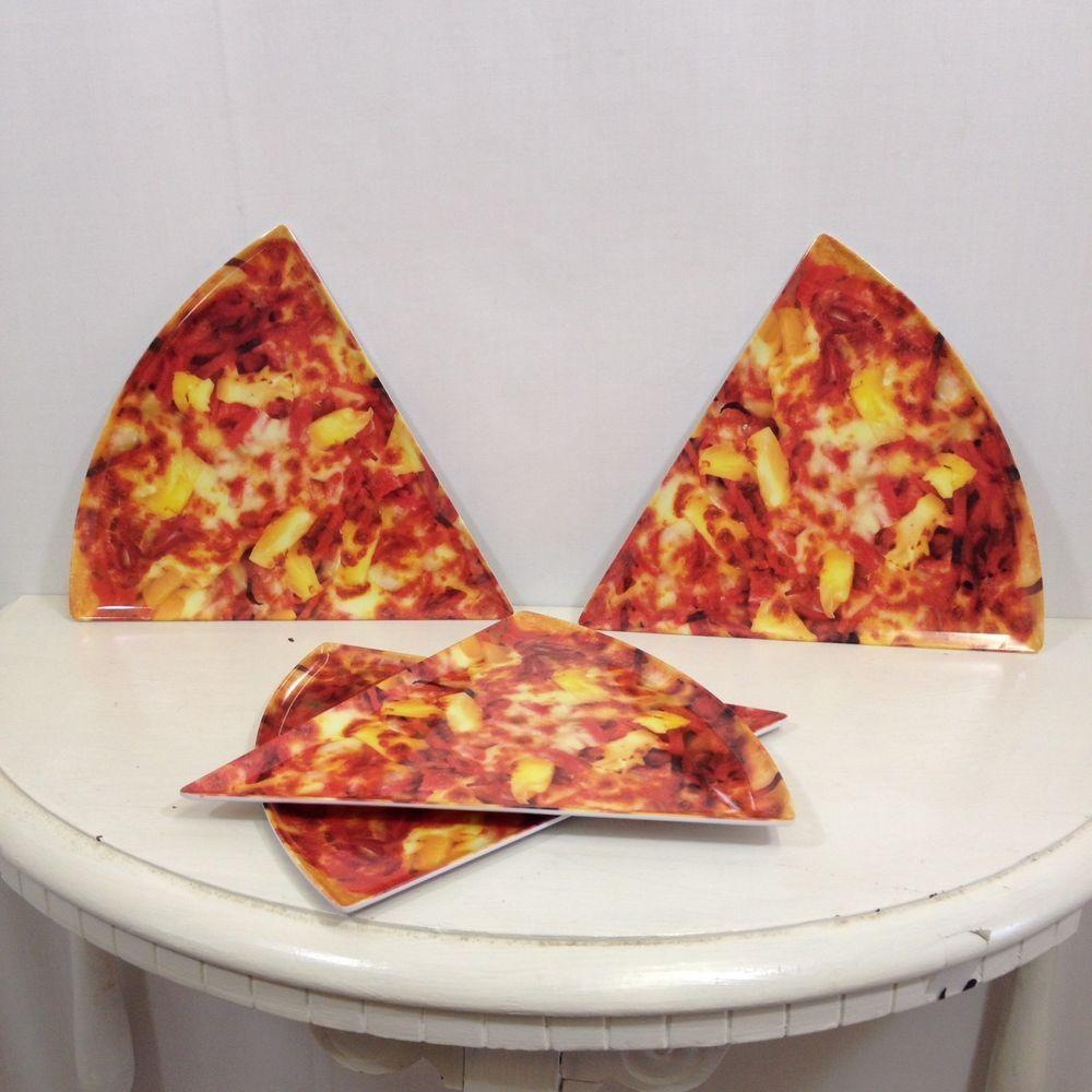 Pizza Slice Plastic Plates Pepperoni or Hawaiian Plastic Family Dinner Fun Food & Pizza Slice Plastic Plates Pepperoni or Hawaiian Plastic Family ...