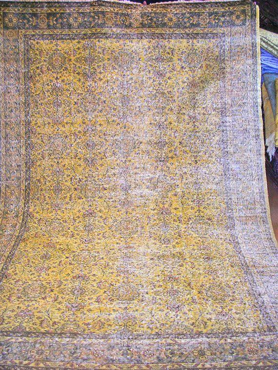 Gold Overdyed Vintage Turkish Carpet. $1,645.00, via Etsy.