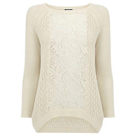 Buy Warehouse Lace Block Jumper, Cream Online at johnlewis.com