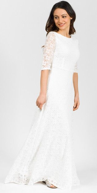 Modest Lined White Lace Maxi Dress With Elbow Length Sleeves Mode