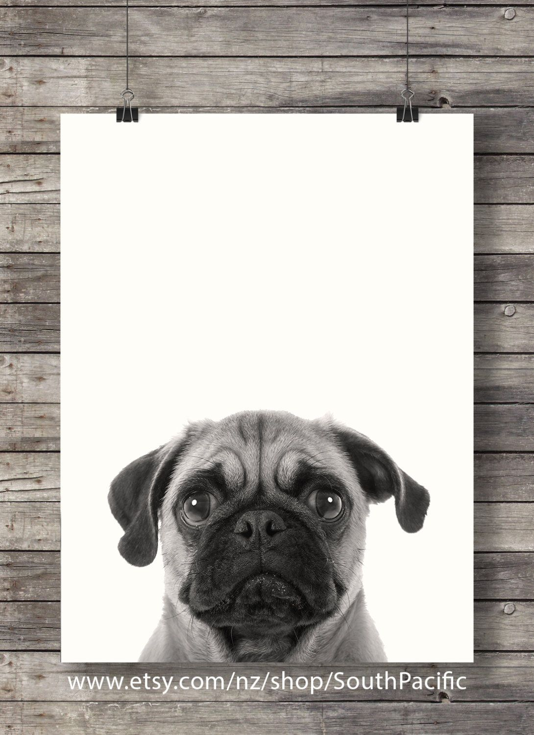 Pug Art Print Cute Dog Face Sepia Pug Photo Printable Wall