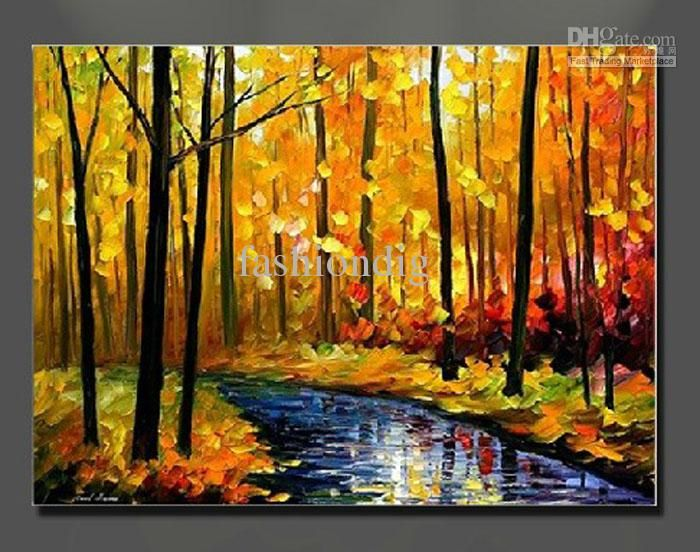 oil painting canvas Autumn Landscape Scenery River Yellow ...