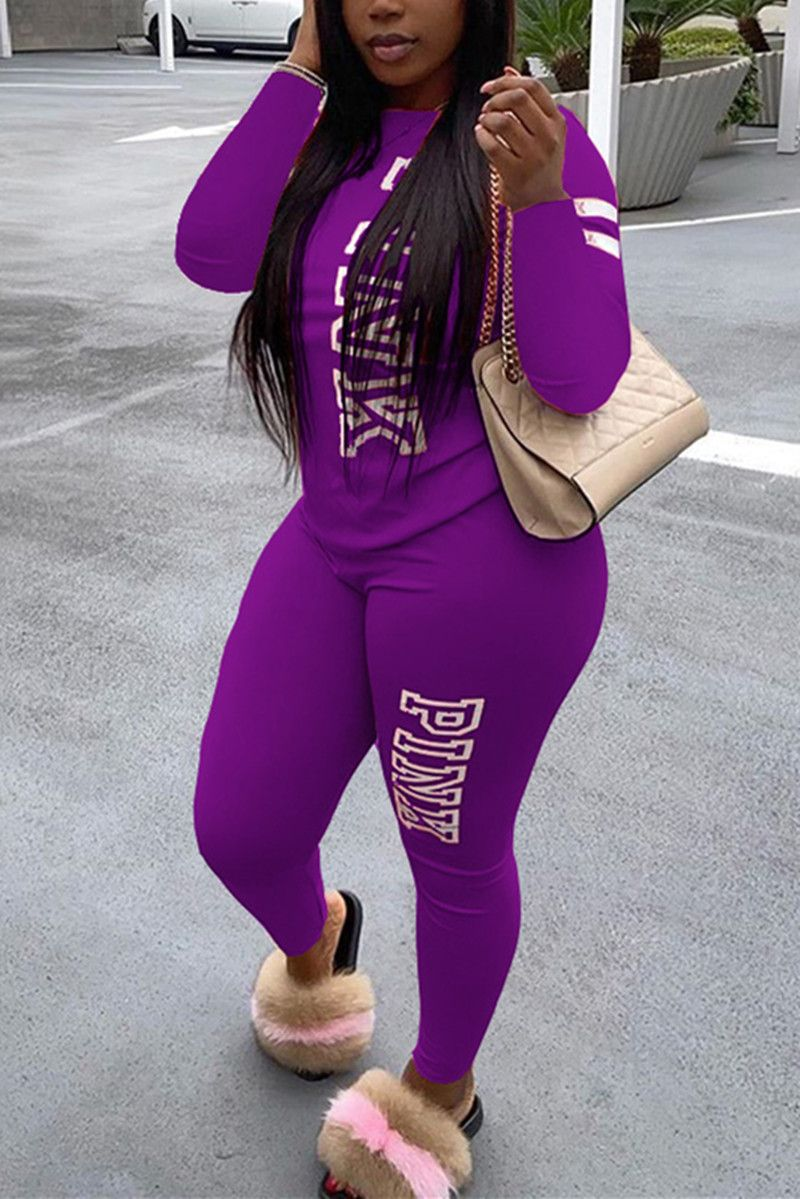 purple Fashion Casual Adult Polyester Letter Print Letter O Neck Long Sleeve Regular Sleeve Regular Two Pieces #knowfashionstyle #purple #fashion #casual #polyester #letterprint #oneck #longsleeve #twopieces