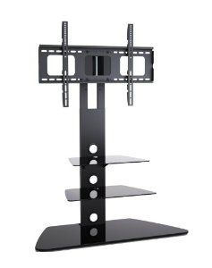 1home Cantilever Glass Tv Stand With Swivel Bracket For 30 To 55