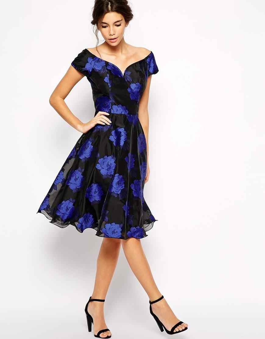 Chi chi london chi chi london printed organza midi prom dress with
