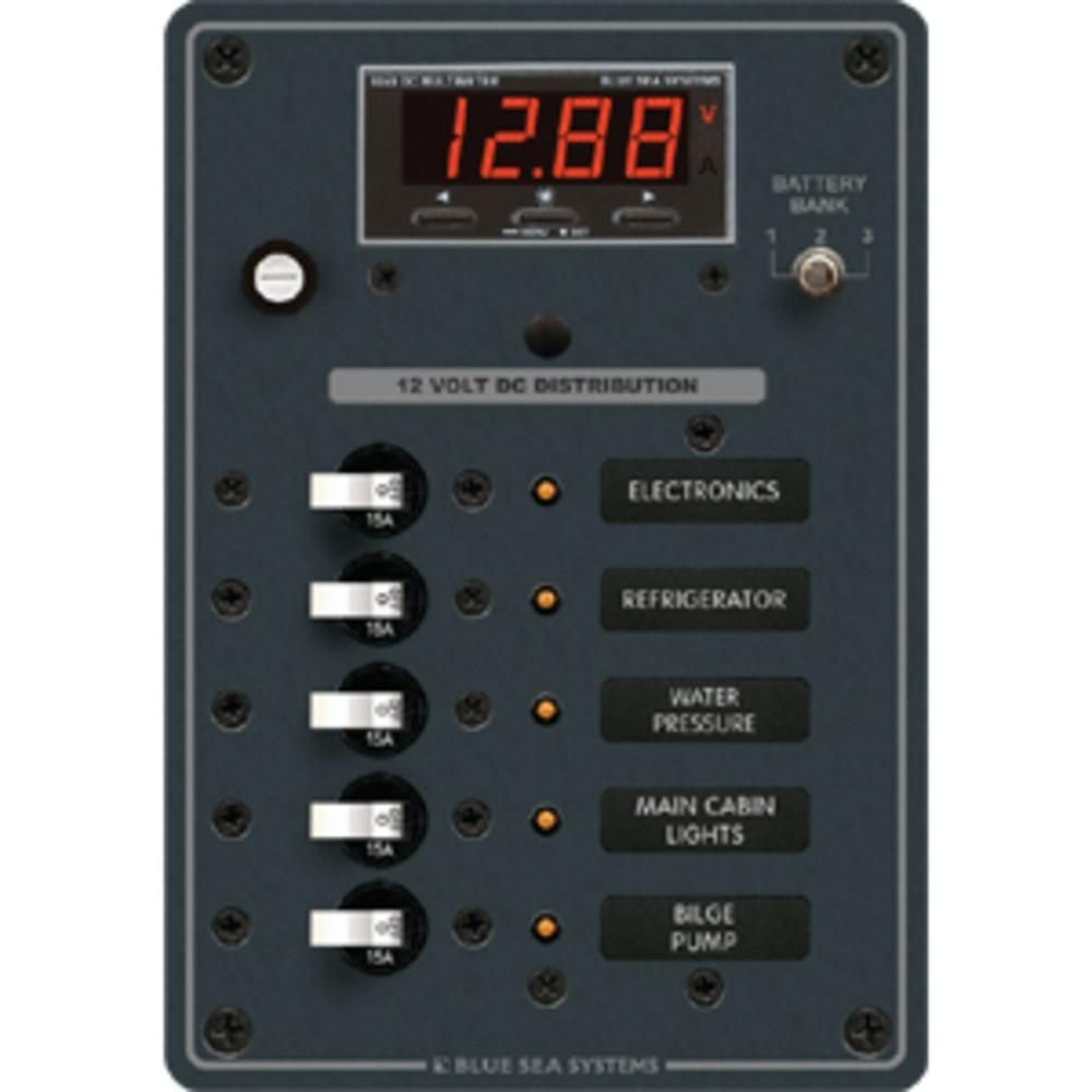 Blue Sea 8401 Dc 5 Position W Multi Function Meter Products 12 Volt Circuit Breaker Switch Panel 4 8505 Ac Main Branch A Series Toggle 3 Boat Parts For Less