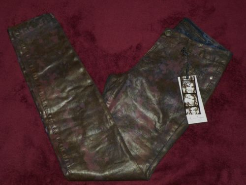 WOMEN'S JESSICA SIMPSON NWT BLACK and PURPLE KISS ME JEGGINGS SIZE 8 (30 x 32)