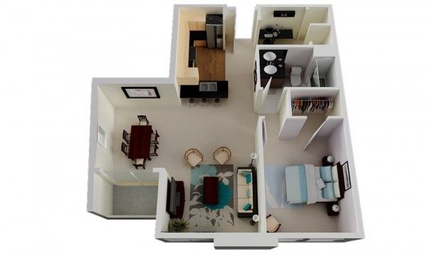 50 Plans en 3D d\u0027appartement avec 1 chambres Small house plans - Plan De Maison En 3d