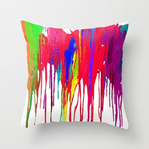 Funky bright paint drip design fabric pillow cover bold neon bright faux paint