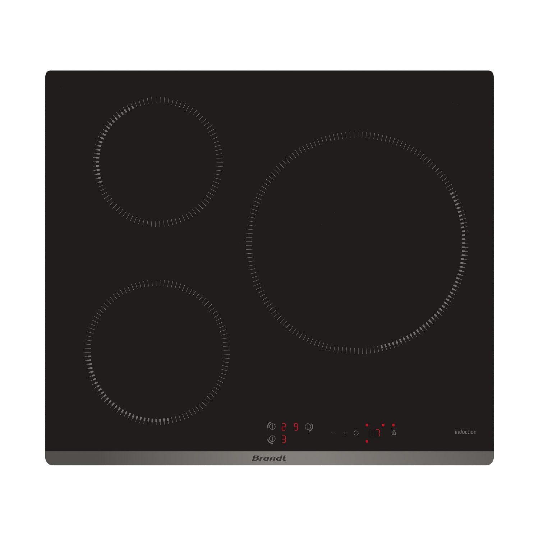 Table Induction Ou Vitrocéramique plaque à induction 3 foyers, noir, brandt bpi6313b | table