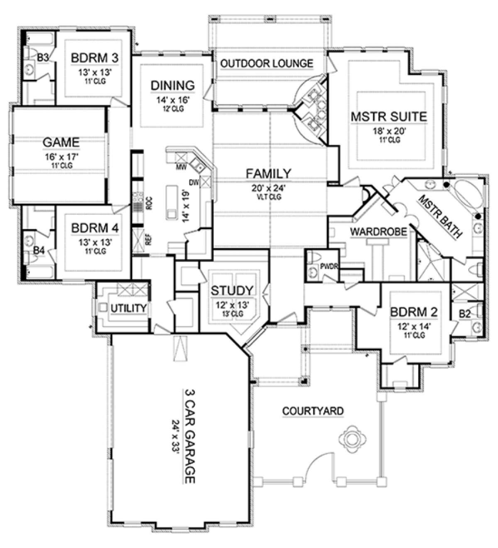 House Plan 5445 00240 European Plan 3 895 Square Feet 4 Bedrooms 4 5 Bathrooms In 2021 European House Floor Plans New House Plans