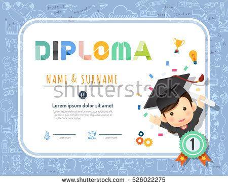 Certificate Kids Diploma, Kindergarten Template Layout Background Frame  Design Vector. Education Preschool Concept.