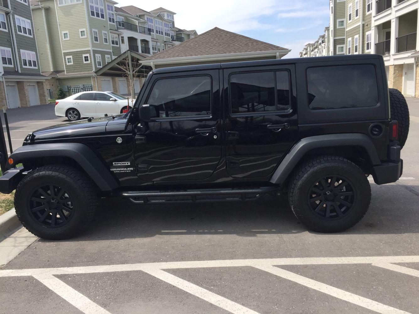 My black jeep wrangler unlimited custom painted xd heist rims 18
