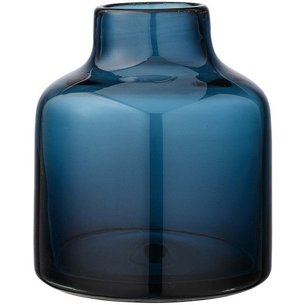 Bloomingville Glass Navy Vase 112 Liked On Polyvore Featuring