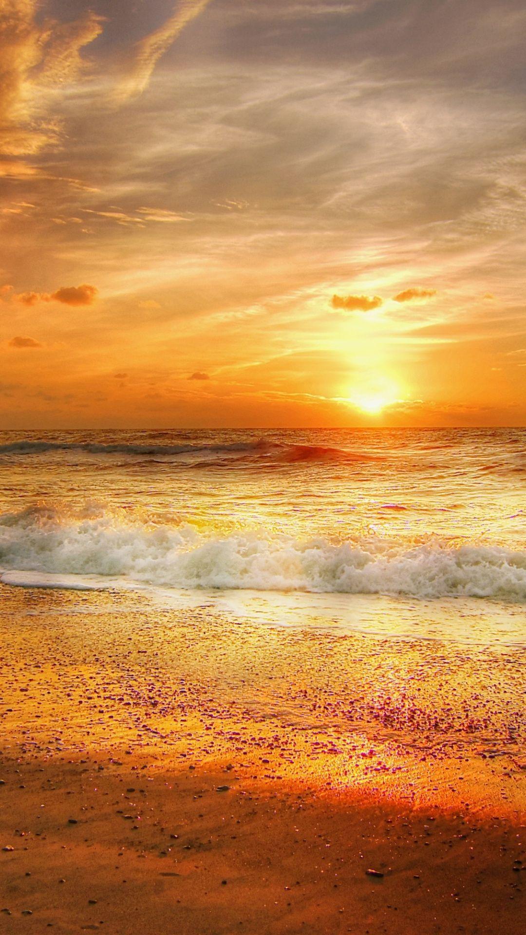 North Sea Sunset Yellow Sky Nature 1080x1920 Wallpaper