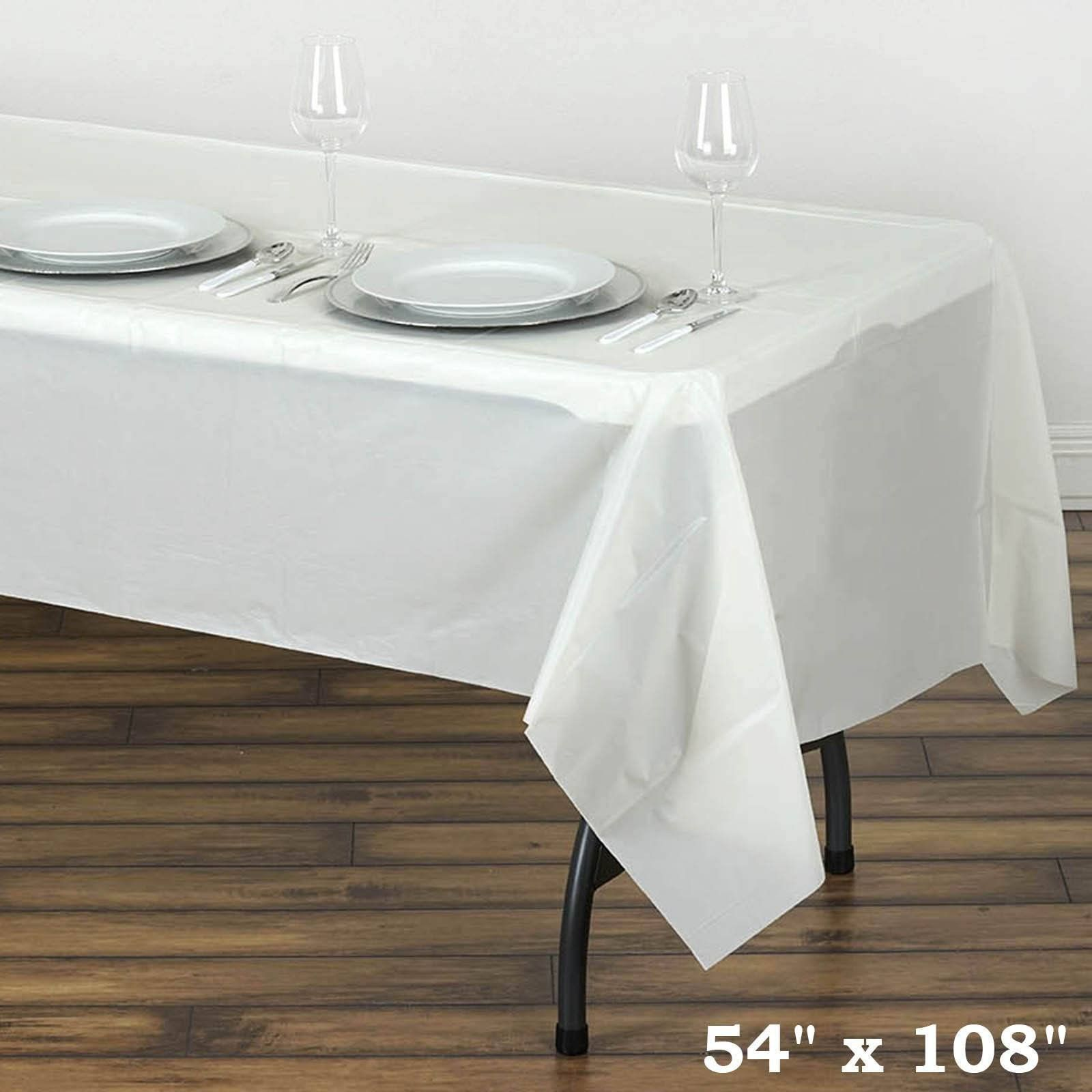 54 X 108 Ivory 10mil Thick Disposable Plastic Vinyl Rectangular Tablecloth Waterproof Tablecloth Plastic Table Covers Plastic Tables