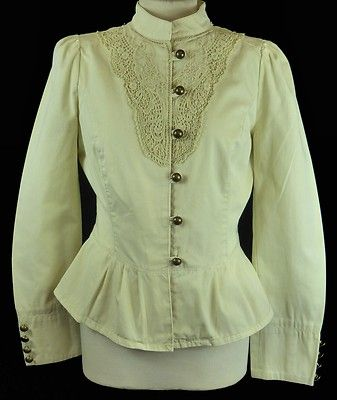 Antique Cotton Lace Fitted Jacket 14 42 12 Vintage Victorian Steampunk High Neck   eBay