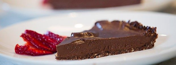 Chocolate Avocado Mousse Tart by Flora and Jasmine {Contains nuts, these could be replaced with sunflower seeds if you wanted a nut free recipe}