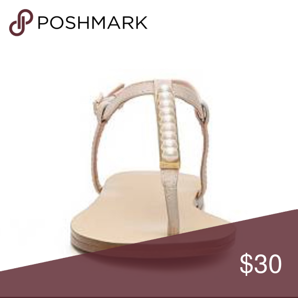 Aldo Nude Taong Pearl Sandal  Size 9  These Aldo Taong T-strap sandals