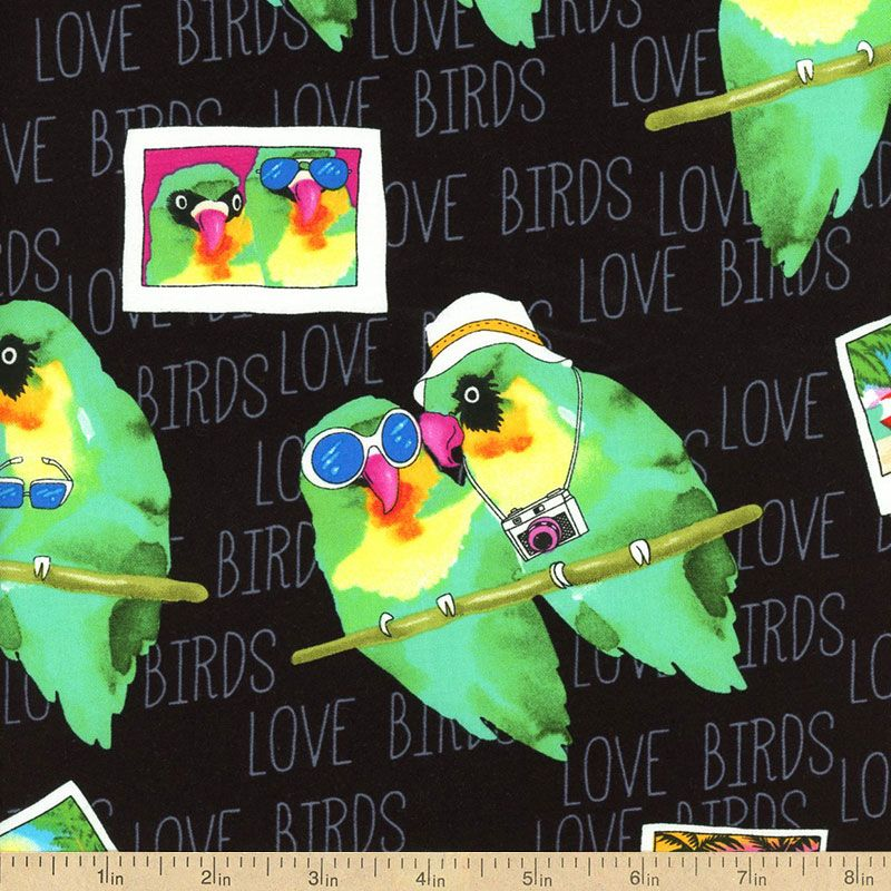 Tropic Rainforest II Love Birds Cotton Fabric - Black by Beverlys.com