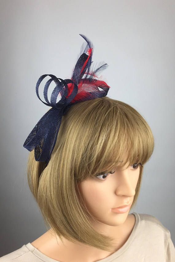 Dark Blue Navy Blue and Red Fascinator on headband wedding mother bride  Ladies Day   Ascot races 19d0722fe9e