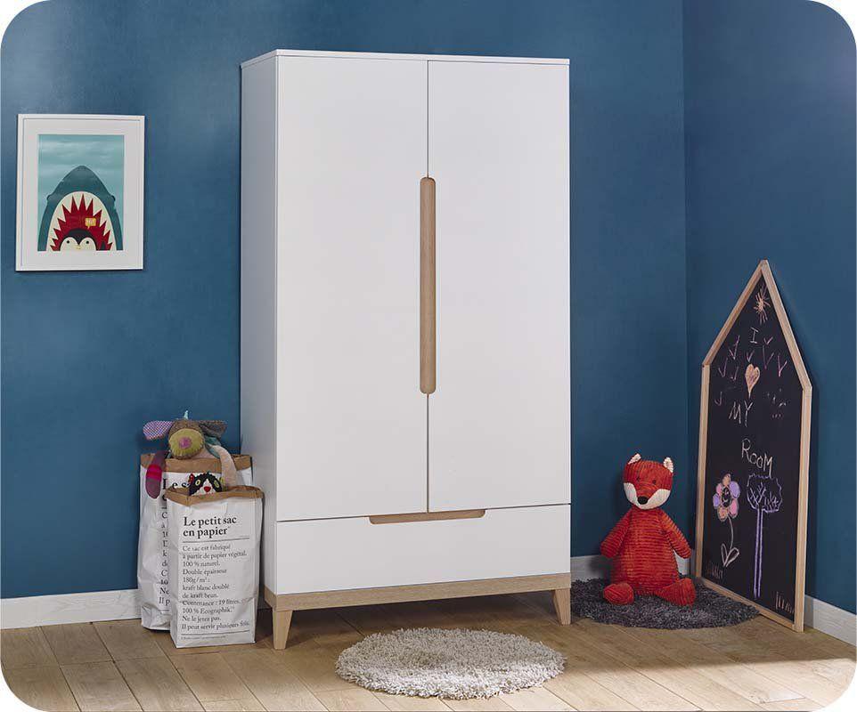 armoire enfant riga blanche et bois