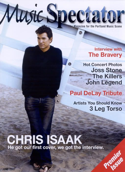 """Chris Isaak on the cover of the premiere issue of """"Music Spectator"""", a magazine for the Portland, Oregon music scene."""