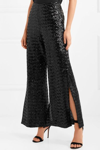 Ailish Sequined Mesh Wide-leg Pants - Black Roland Mouret Cheapest Price Cheap Online LNUJKPYN