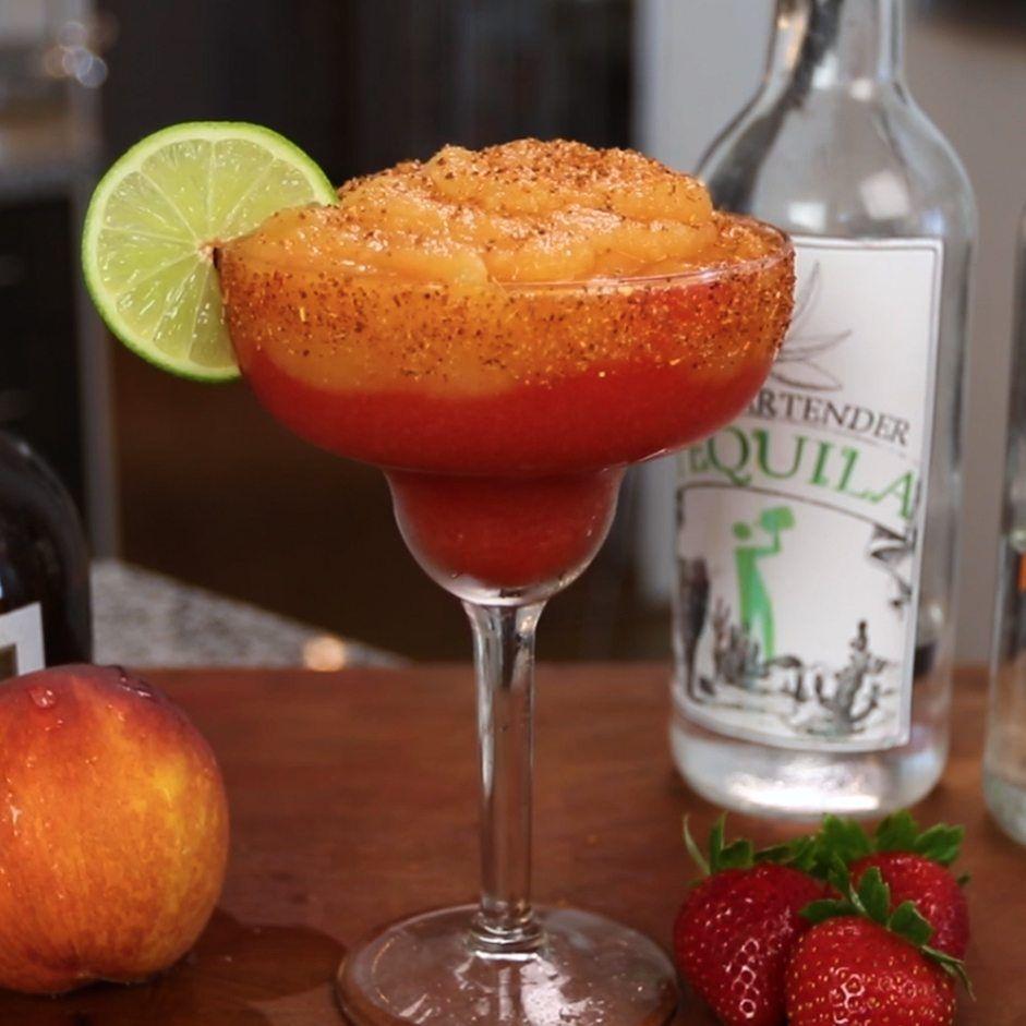 Strawberry Peach Margarita Tipsy Bartender Recipe Margarita Recipes Peach Margarita Mixed Drinks Recipes