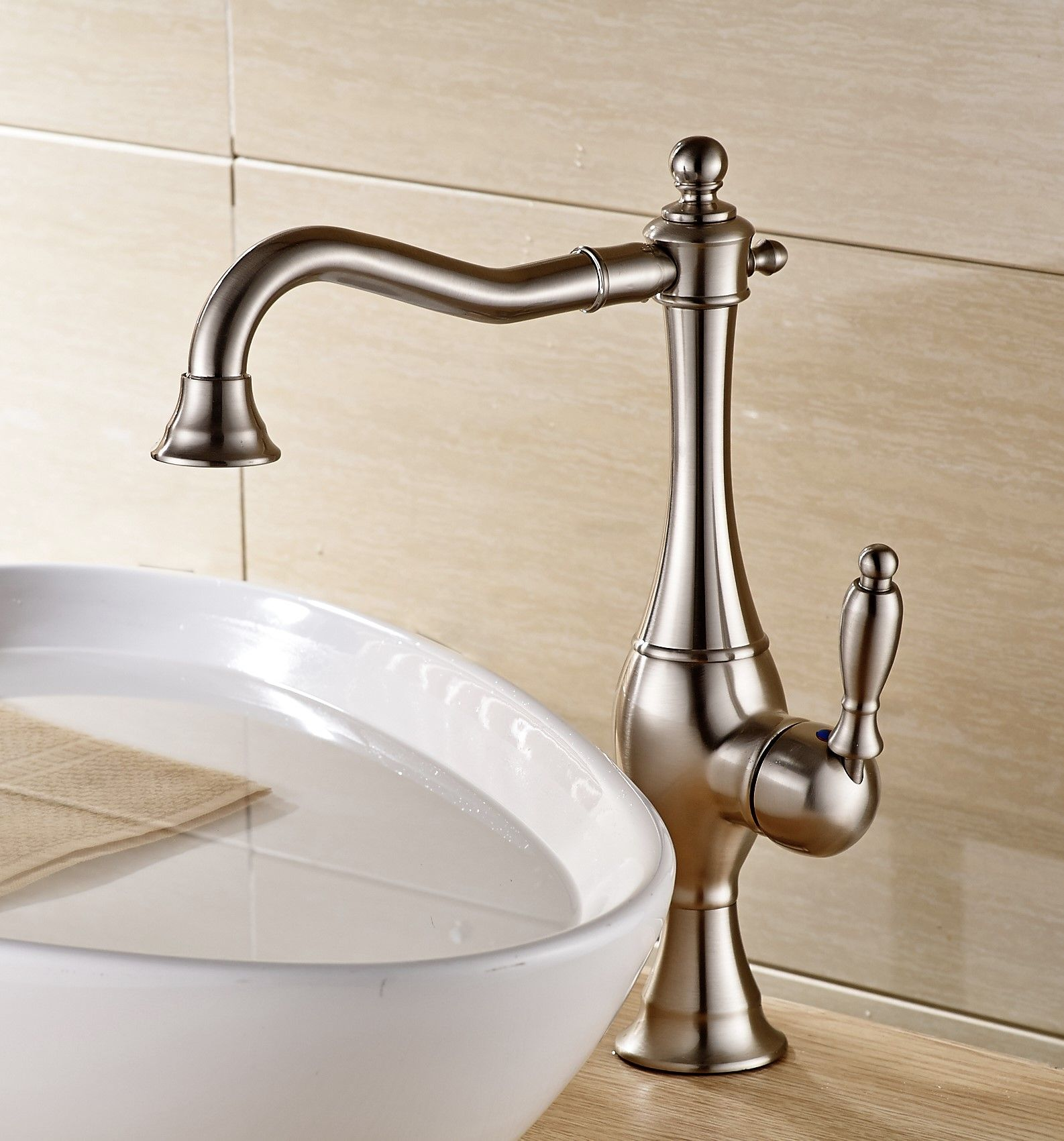 Antique Classic Nickel Brushed Single Handle Bathroom Sink - Cheap bathroom fixtures online