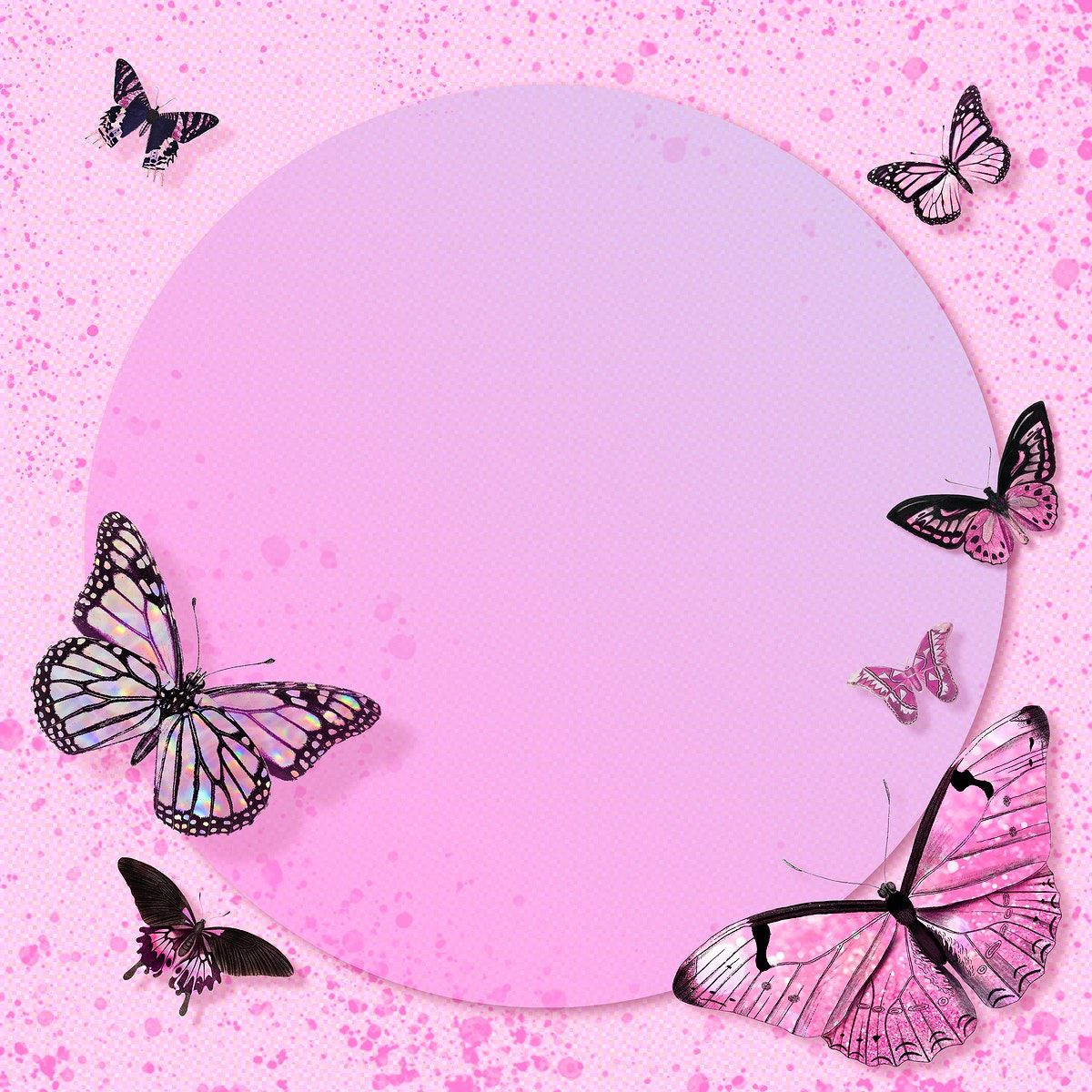 Download Premium Illustration Of Circle Pink Butterfly Frame Design Butterfly Wallpaper Backgrounds Butterfly Frame Pink Butterfly