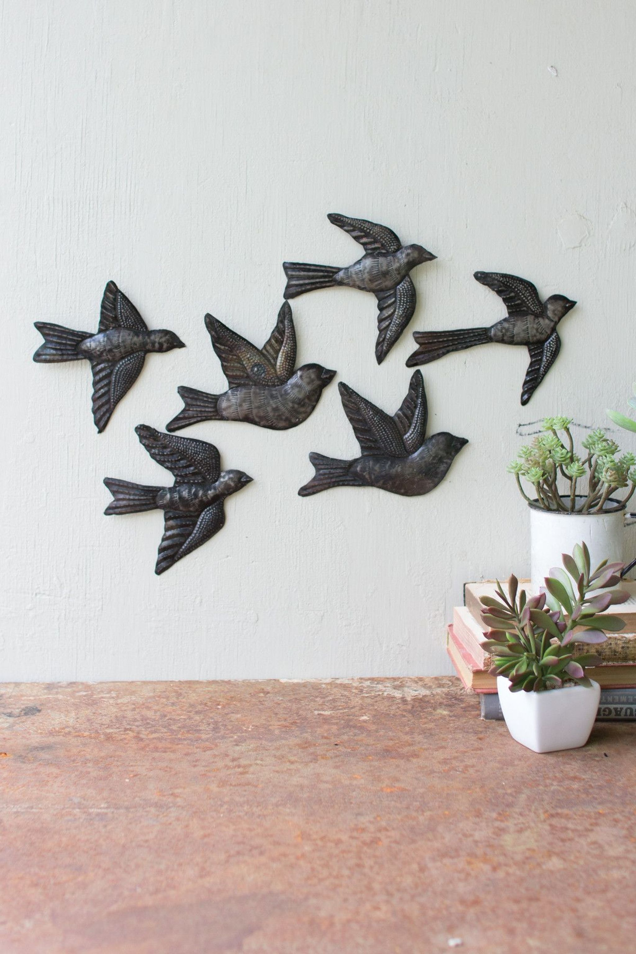 Kalalou hand hammered metal flock of sparrows wall hangings set of 495 kalalou hand hammered metal flock of sparrows wall hangings set of 6 thecheapjerseys Gallery