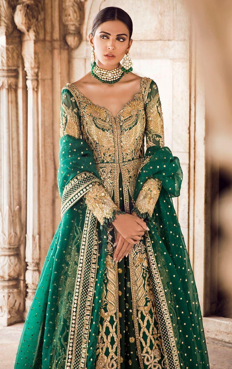 Smaragdgrünes Mehendi Kleid  Pakistani bridal dresses, Desi