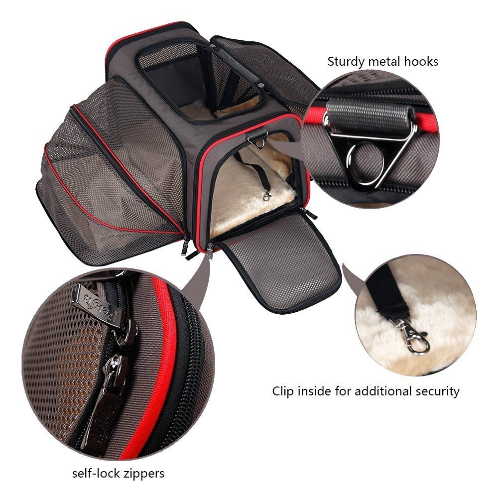 Kittens PetPeppy.com Expandable Pet Carrier- Airline Approved- Designed for Cats Comfortable Puppies Extra Spacious With 2 Side Expansion! Soft Sided Travel Carrier Dogs