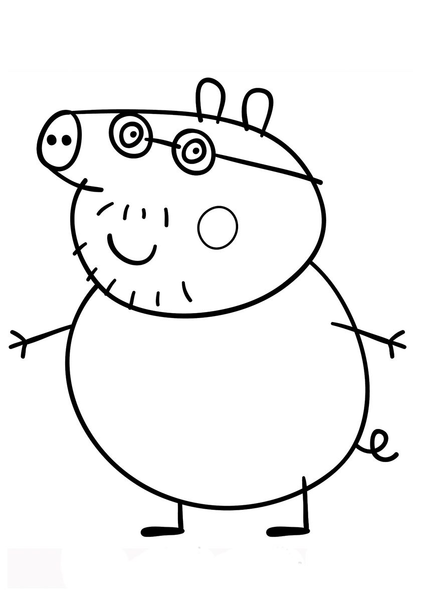 Daddy Pig High Quality Free Coloring From The Category Peppa Pig More Printable Pictures On Peppa Pig Colouring Peppa Pig Coloring Pages Peppa Pig Pictures