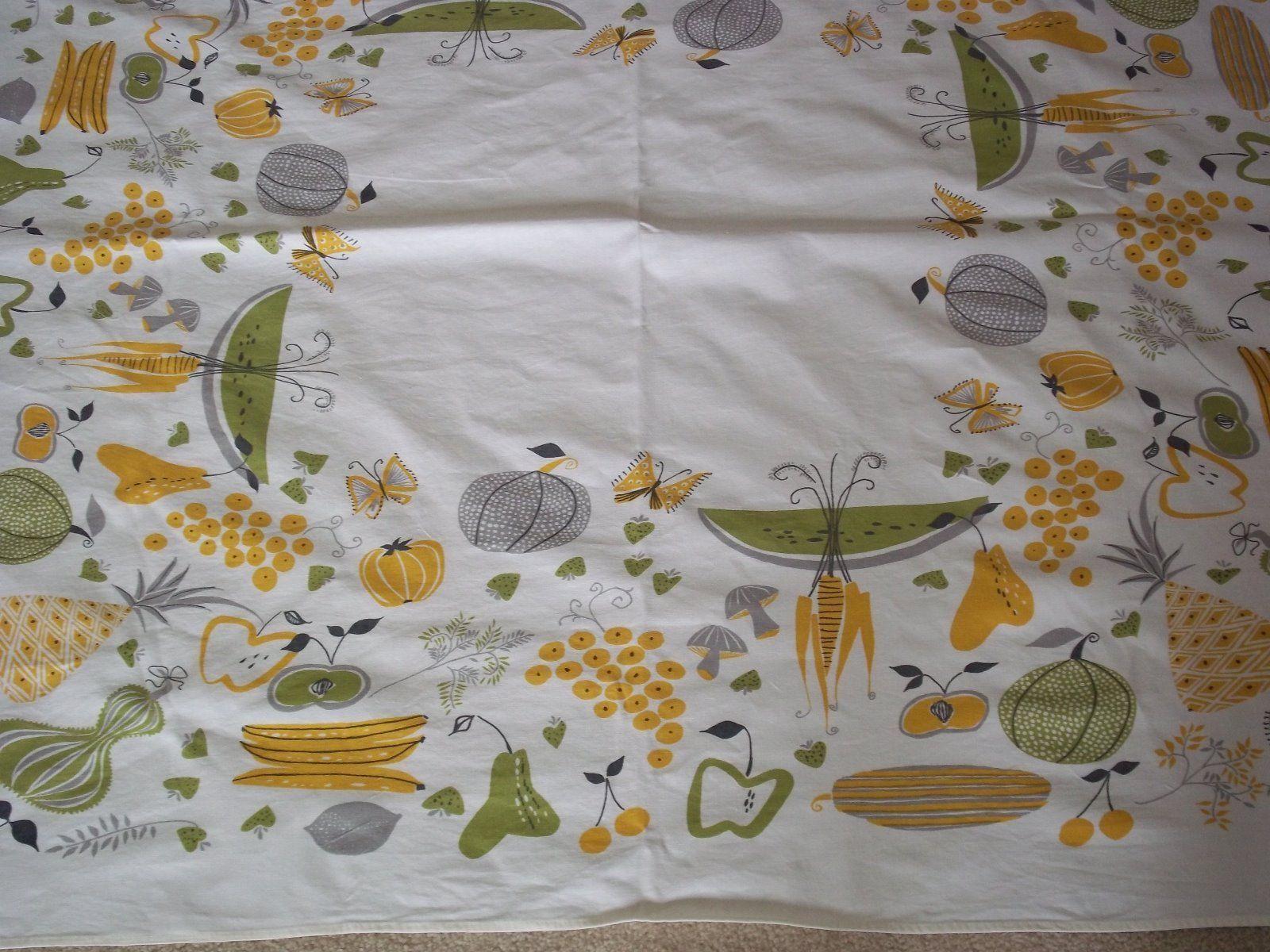 Vintage tablecloth by Pat Prichard mid century modern retro green